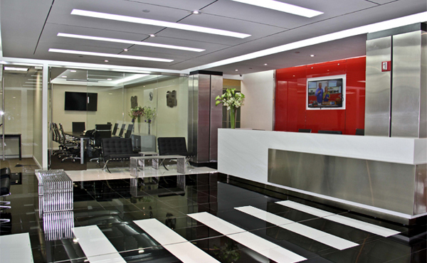 reception area of New York Manhattan office space rental center
